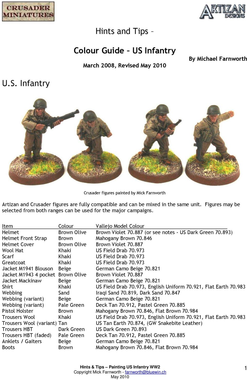 Hints and Tips  Colour Guide US Infantry - PDF