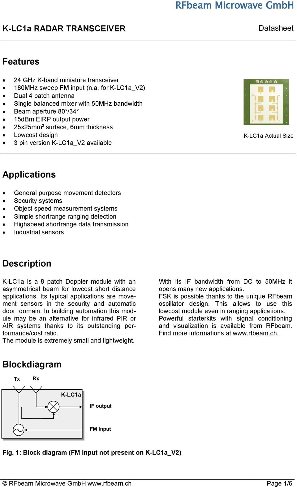 Features  Applications  Description  Blockdiagram  K-LC1a RADAR