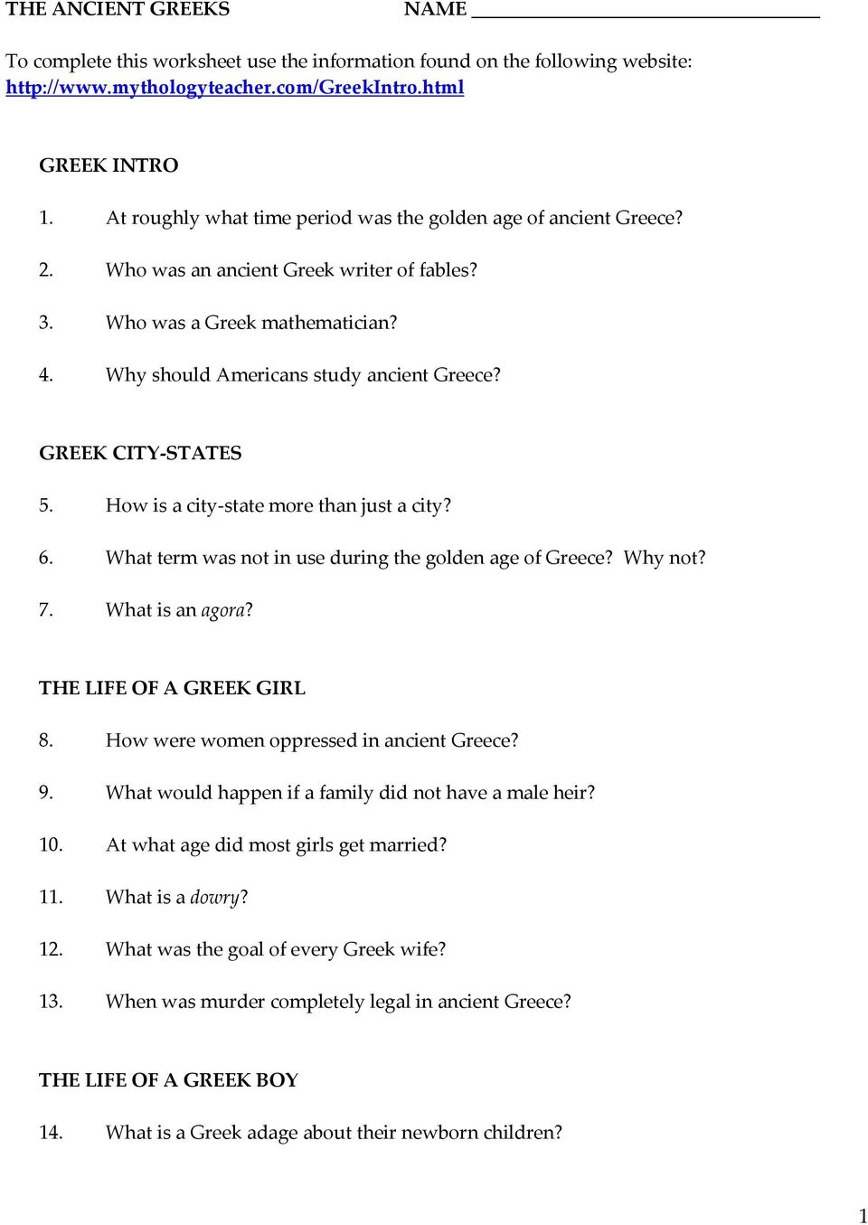 Worksheet Ancient Greece Worksheets the ancient greeks to complete this worksheet use the
