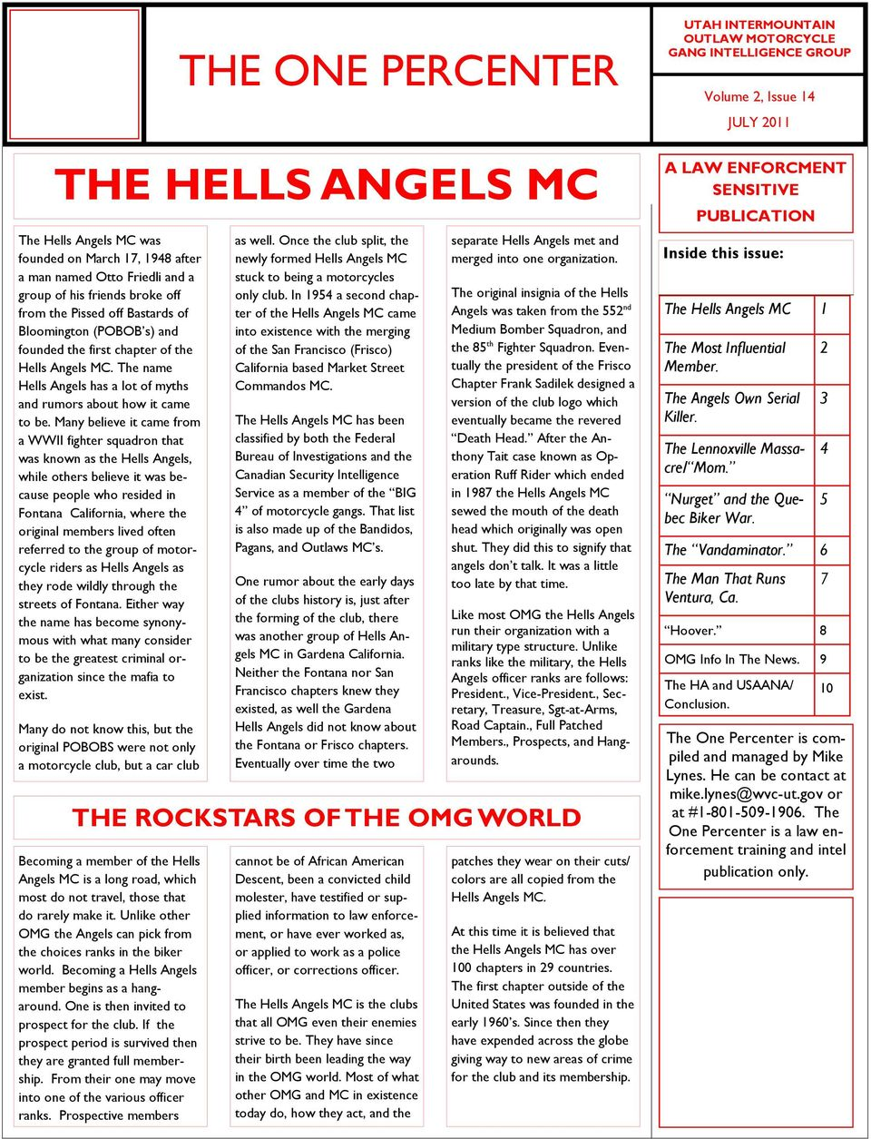 THE ONE PERCENTER THE HELLS ANGELS MC THE ROCKSTARS OF THE OMG WORLD