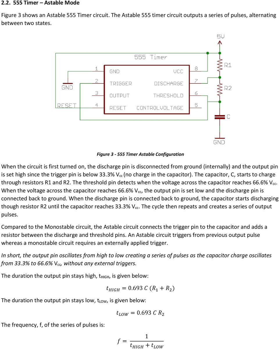 1 Learn About The 555 Timer Integrated Circuit And Applications 2 Monostable Electrical Engineering Electronics 333 V Cc No Charge In Capacitor C 4 Astable