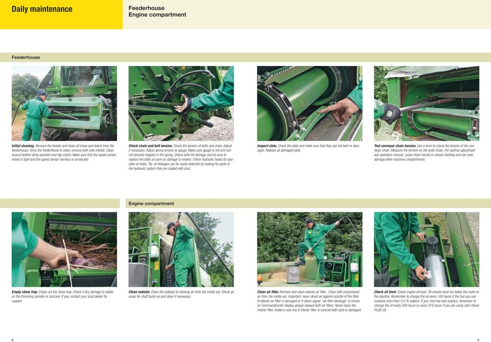 Inspection and maintenance guide for John Deere combines