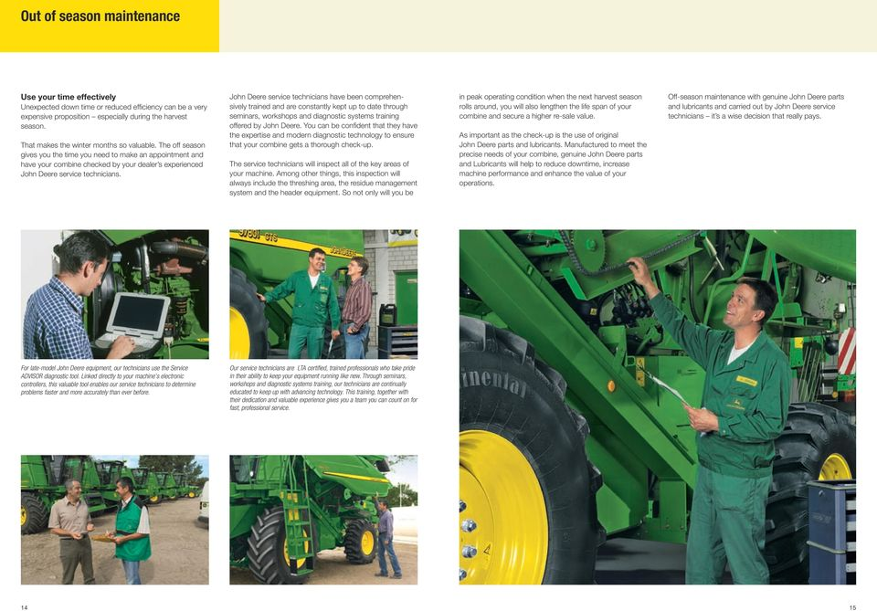 Inspection and maintenance guide for john deere combines keep your john deere service technicians have been comprehensively trained and are constantly kept up to date through fandeluxe Image collections