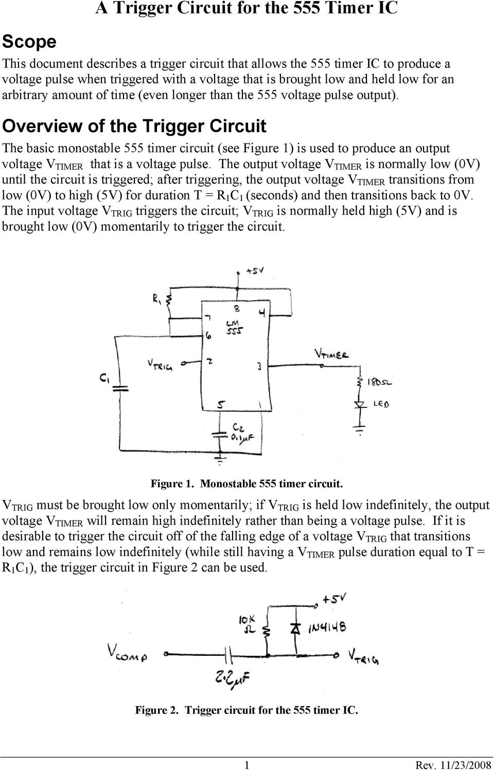A Trigger Circuit For The 555 Timer Ic Scope Pdf Logic And Switching Theory Overview Of Basic Monostable See Figure 1