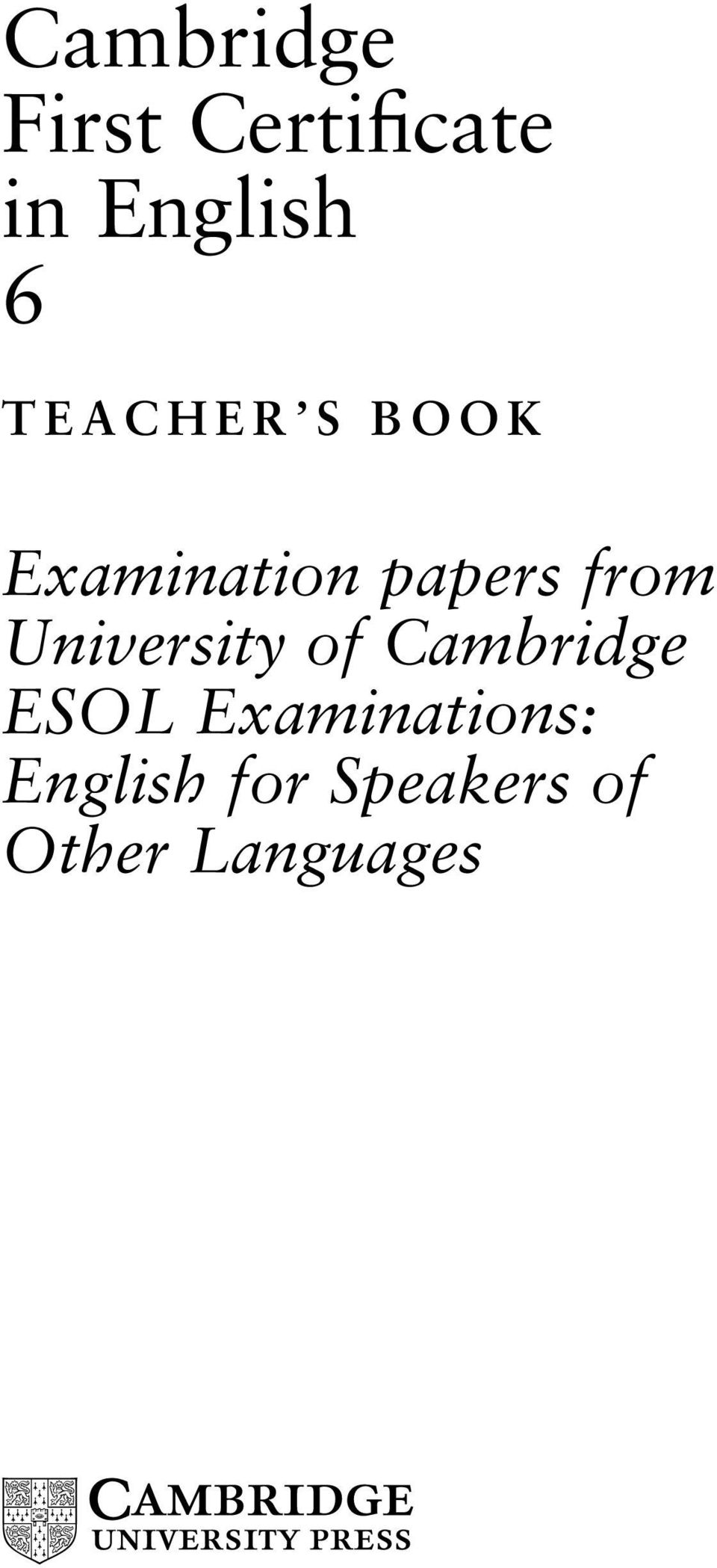 Cambridge First Certificate in English 6 - PDF