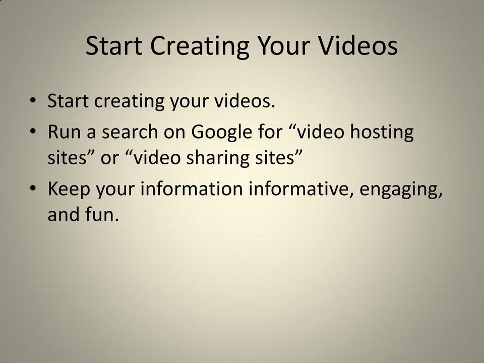Run a search on Google for video hosting
