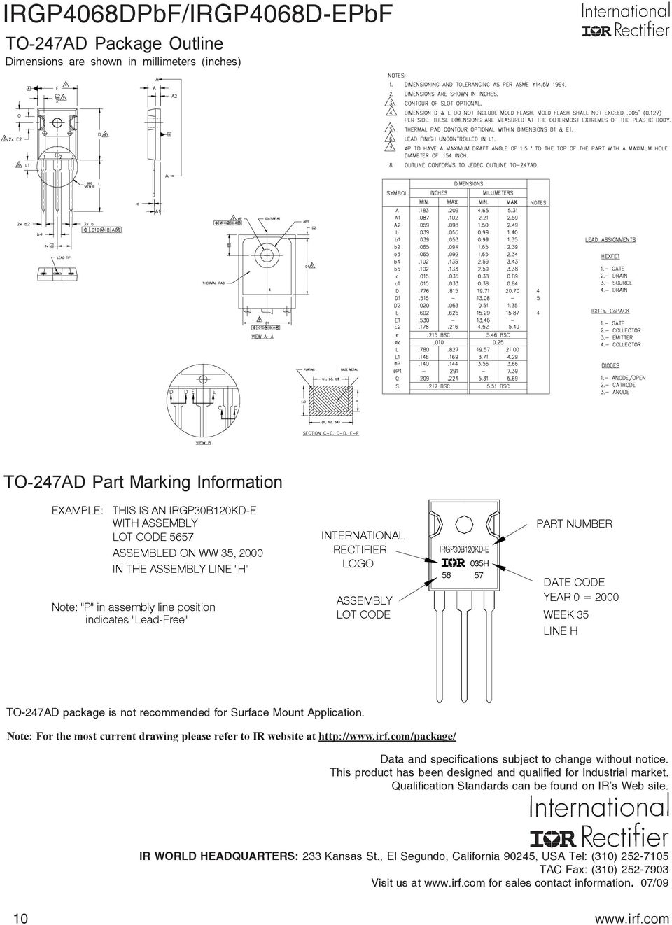 Irgp4068dpbf Irgp4068d Epbf Pdf Power Mosfet Irf740 As A Switch Circuit 300 Volts Dc And 5amp 1 To 247ad Package Is Not Recommended For Surface Mount Application