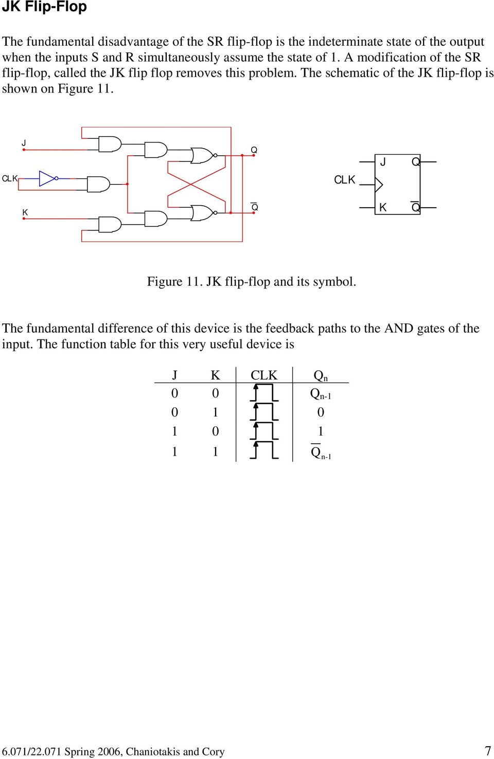 So Far We Have Investigated Combinational Logic For Which The Output Jk Flipflop Circuit Schematic Of Flip Flop Is Shown On Figure J K
