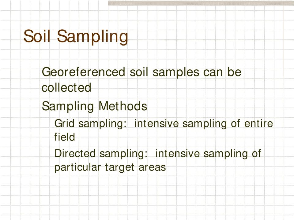 intensive sampling of entire field Directed