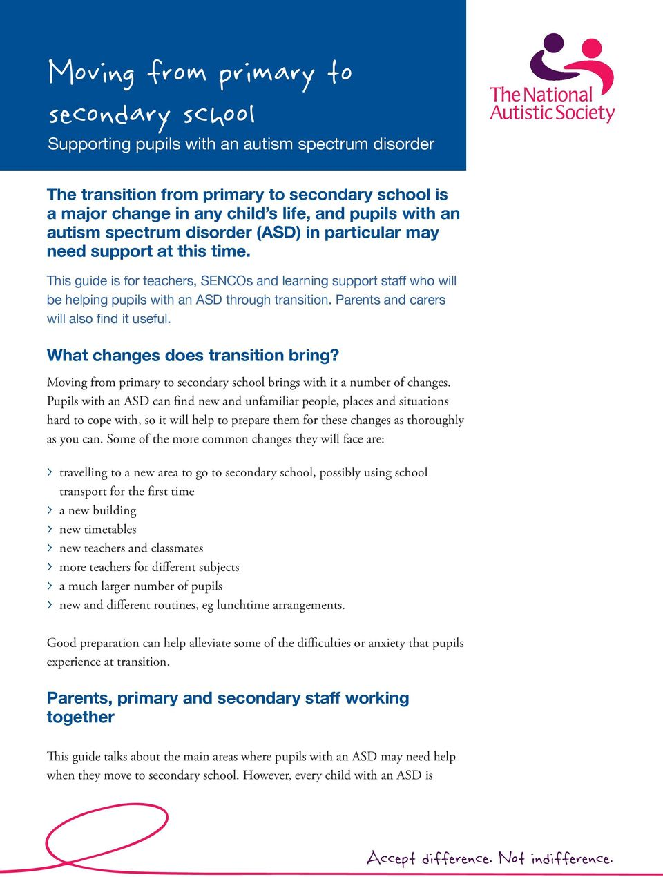 Parents and carers will also find it useful. What changes does transition bring? Moving from primary to secondary school brings with it a number of changes.