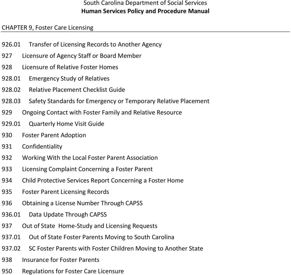 South Carolina Department Of Social Services Human Services Policy And Procedure Manual Table Of Contents Pdf Free Download