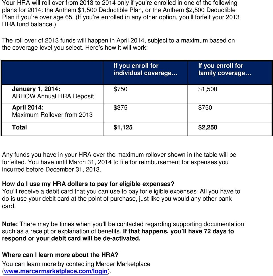 Here s how it will work: If you enroll for individual coverage If you enroll for family coverage January 1, 2014: ABHOW Annual HRA Deposit April 2014: Maximum Rollover from 2013 $750 $1,500 $375 $750