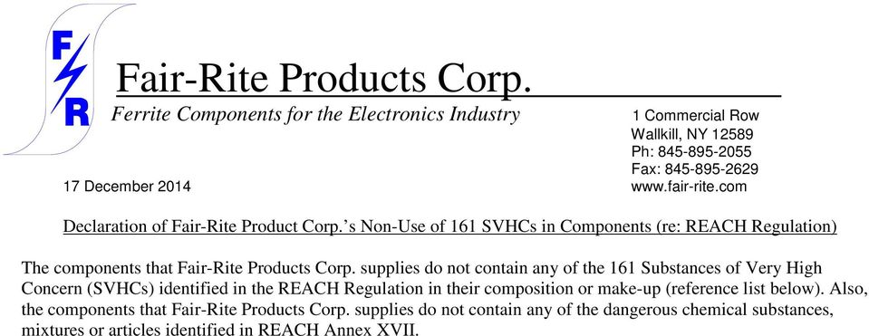 Fair-Rite Products Corp  Ferrite Components for the