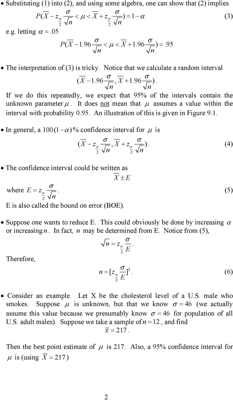 Topic 5: Confidence Intervals (Chapter 9) - PDF