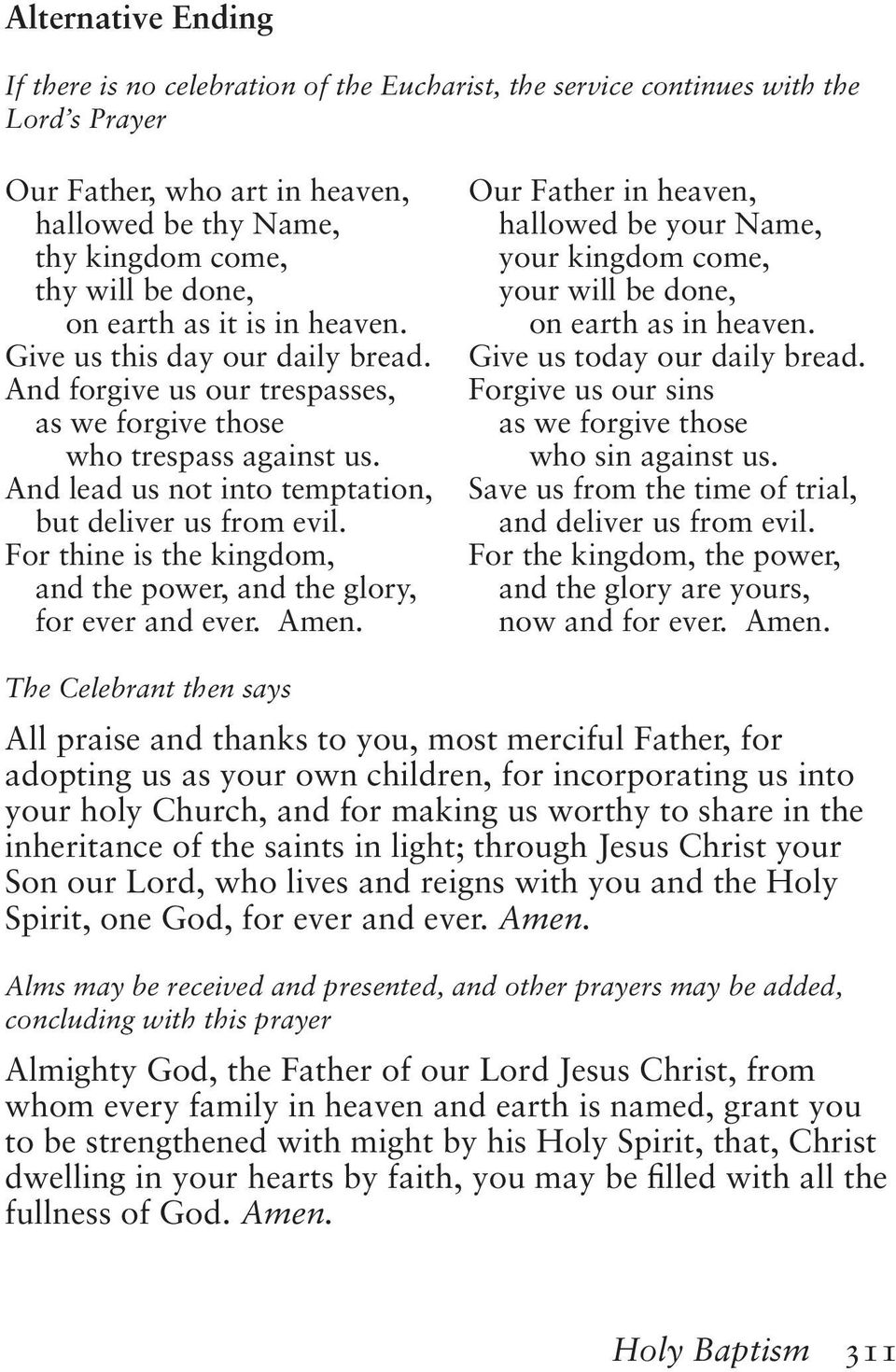 The Book of Common Prayer, Formatted as the original - PDF