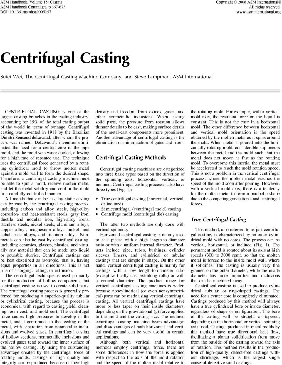 Sufei Wei, The Centrifugal Casting Machine Company, and