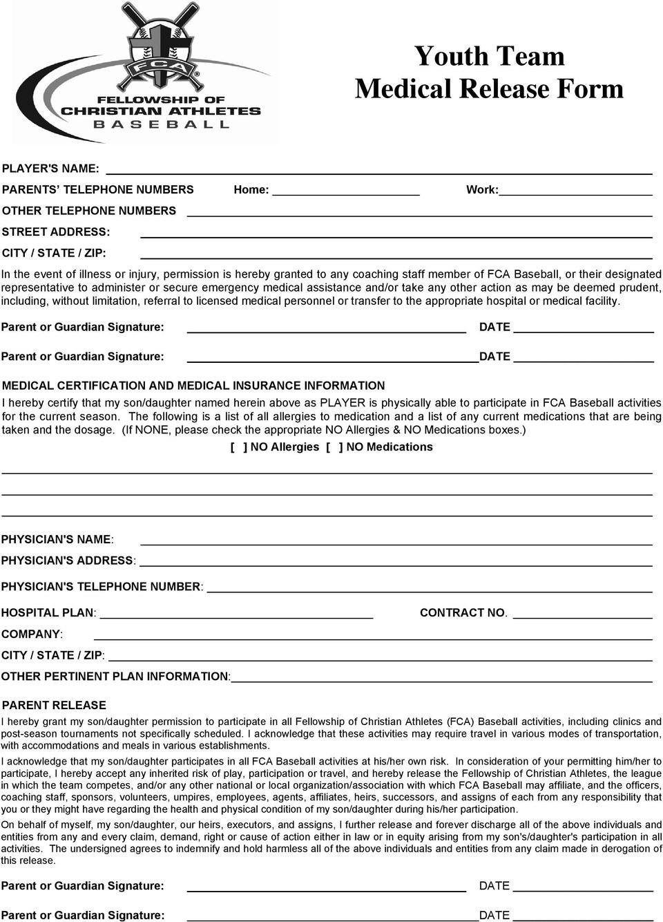 Youth Team Contract Packet - PDF