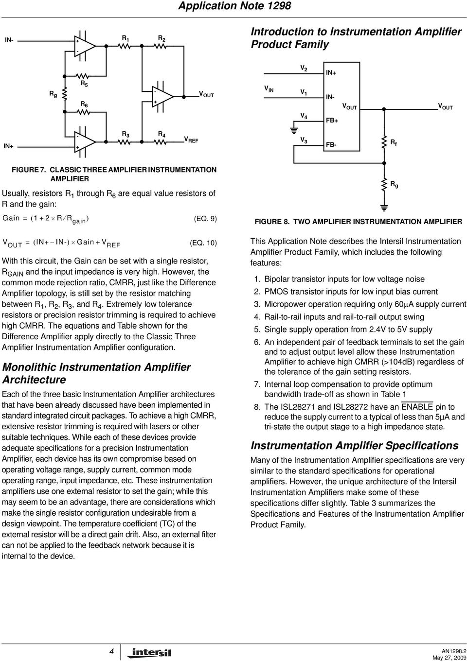 Instrumentation Amplifier Application Note Pdf Dual Power Quad Opamp Circuit Filtercircuit Basiccircuit 10 With This The Gain Can Be Set A Single Resistor