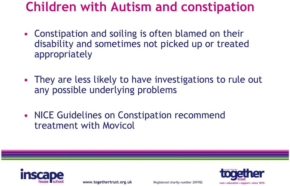 Continence issues in children and young people with autism
