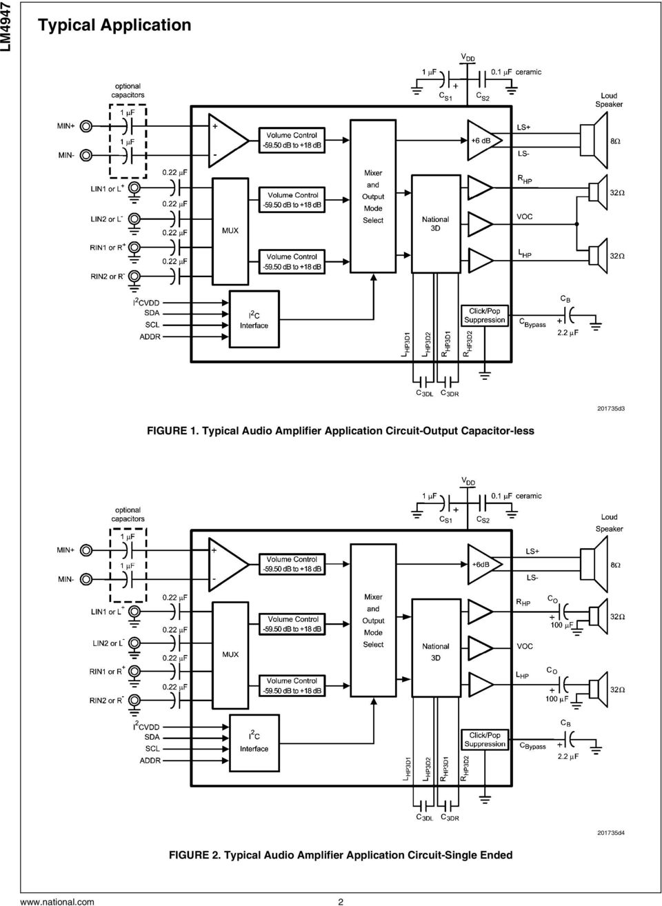 Lm4947 Mono Class D And Stereo Audio Sub System With Ocl National Lm386 Power Amplifier Datasheet For Battery Operation Typical Application Circuit Single Ended 2 Capacitor Less 201735d4 Figure