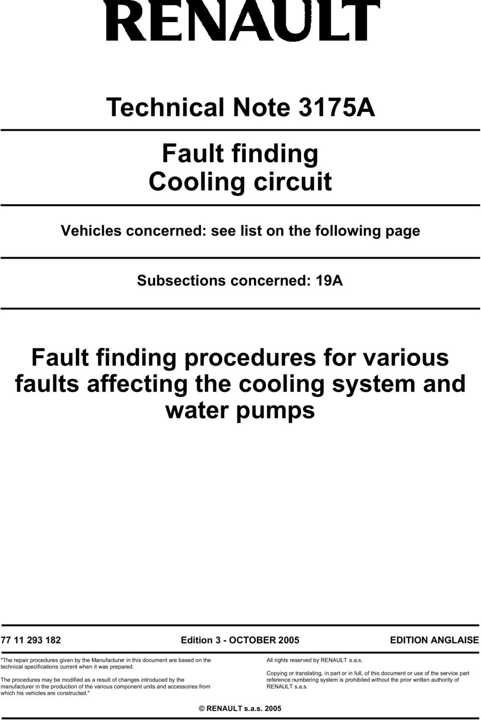 Technical Note 3175a Fault Finding Cooling Circuit Pdf Renault Engine Diagram Prepared The Procedures May Be Modified As A Result Of Changes Introduced By Manufacturer
