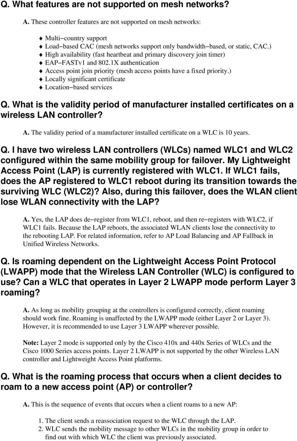 Wireless LAN Controller (WLC) Design and Features FAQ - PDF