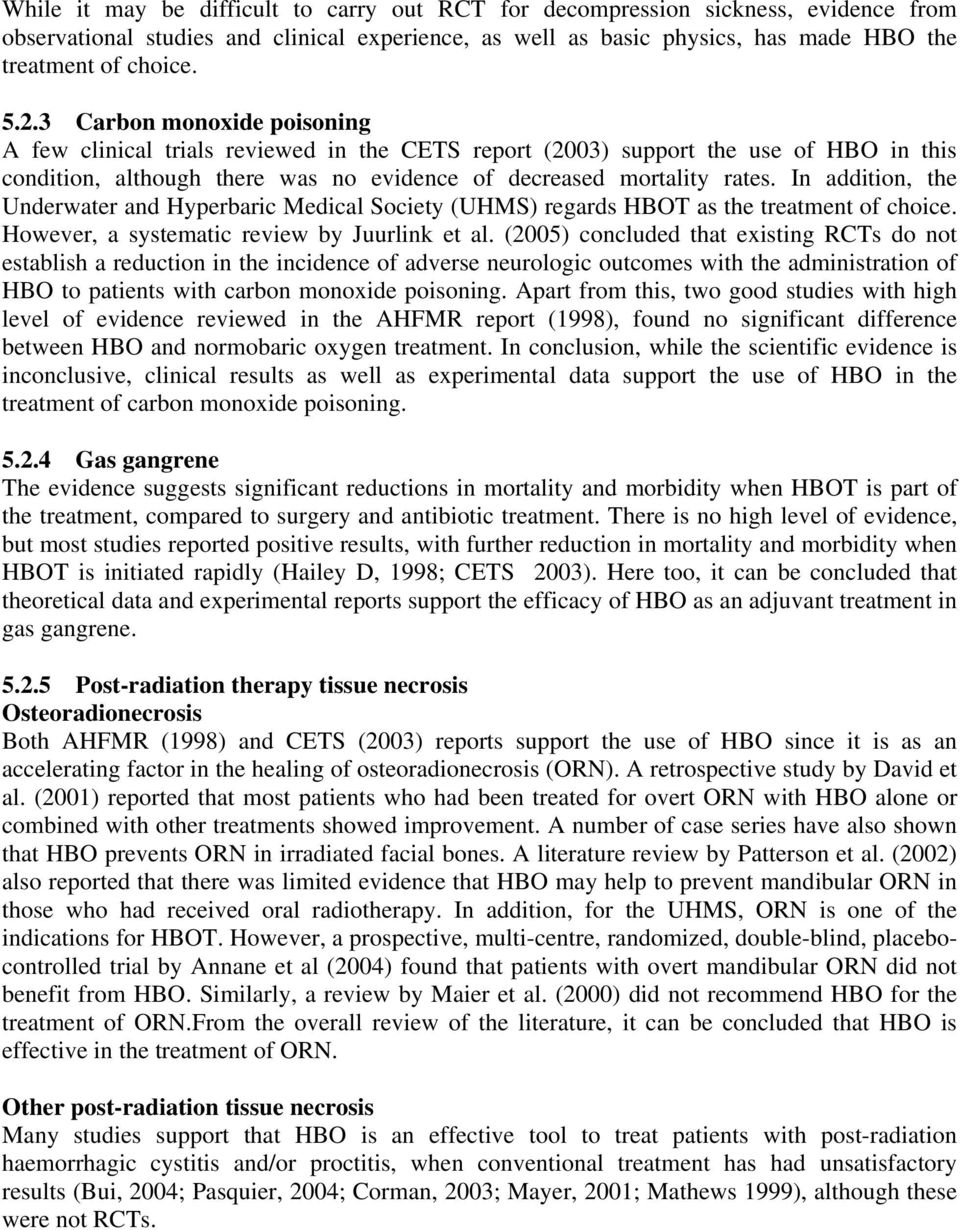 Literature Review Hbot Is Not >> Hyperbaric Oxygen Therapy Pdf