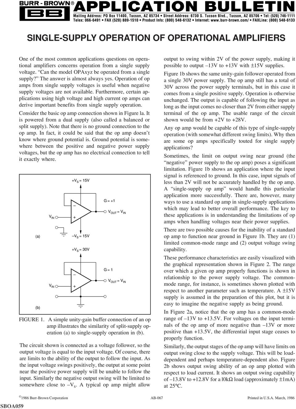 Single Supply Operation Of Operational Amplifiers Pdf Furthermore Certain Applications Using High Voltage And Current Op Amps Can Derive Important Benefits