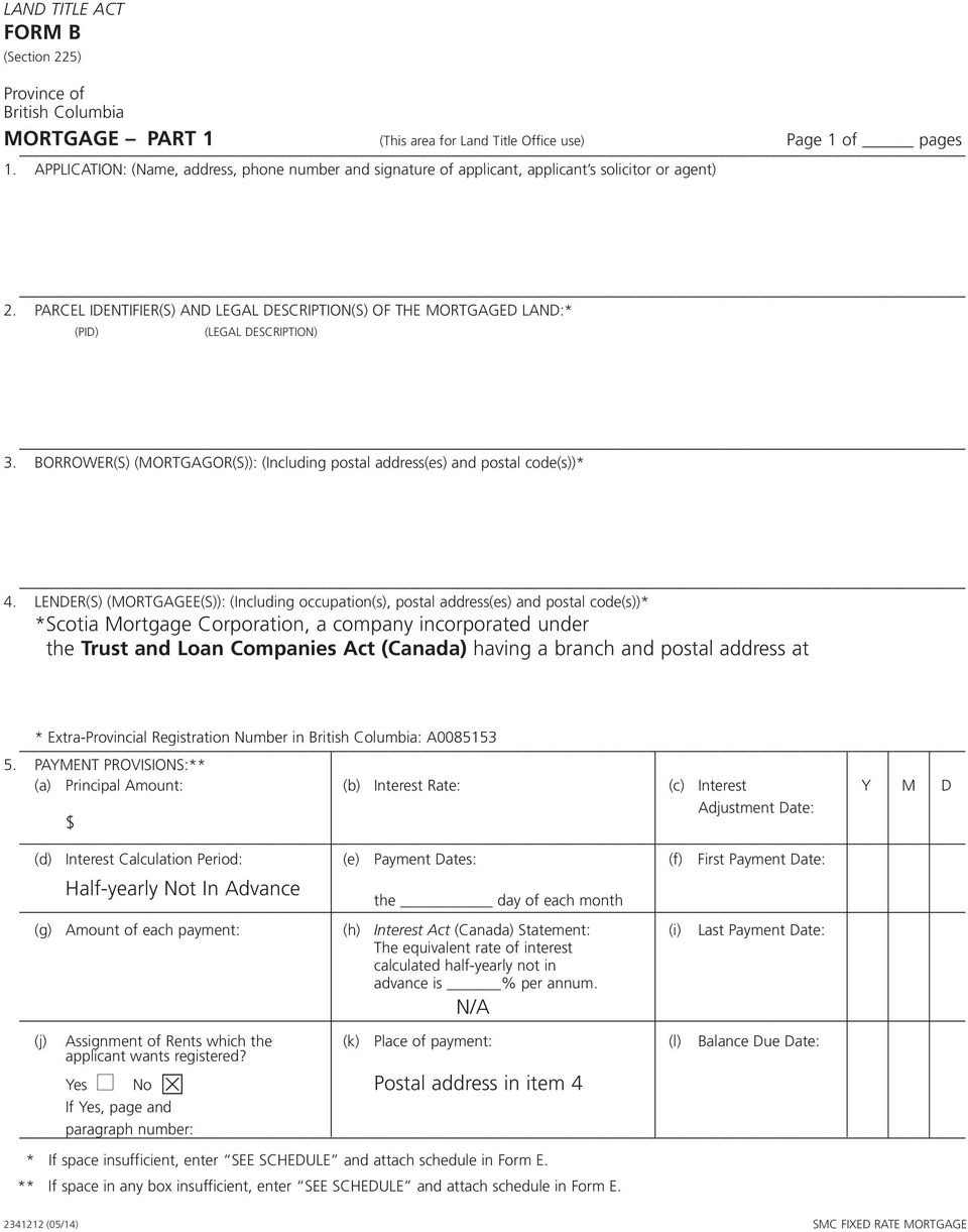 MORTGAGE PART 1 (This area for Land Title Office use) Page 1