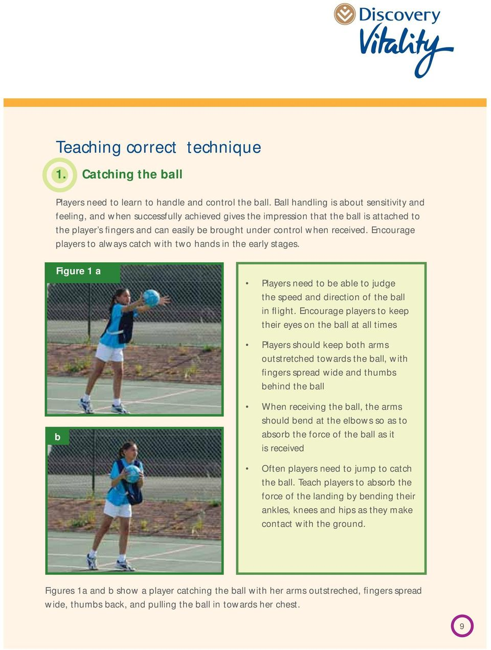 received. Encourage players to always catch with two hands in the early stages. Figure 1 a Players need to be able to judge the speed and direction of the ball in flight.