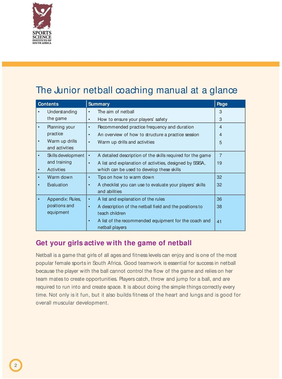for the game 7 and training A list and explanation of activities, designed by SSISA, 19 Activities which can be used to develop these skills Warm down Tips on how to warm down 32 Evaluation A