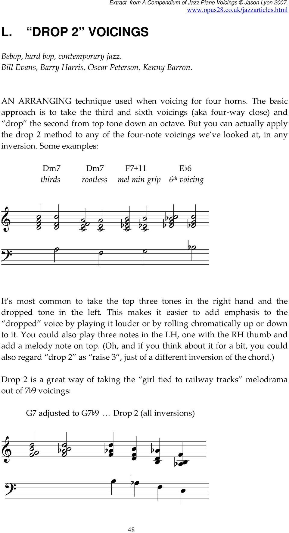 L  DROP 2 VOICINGS  Bebop, hard bop, contemporary jazz  Bill