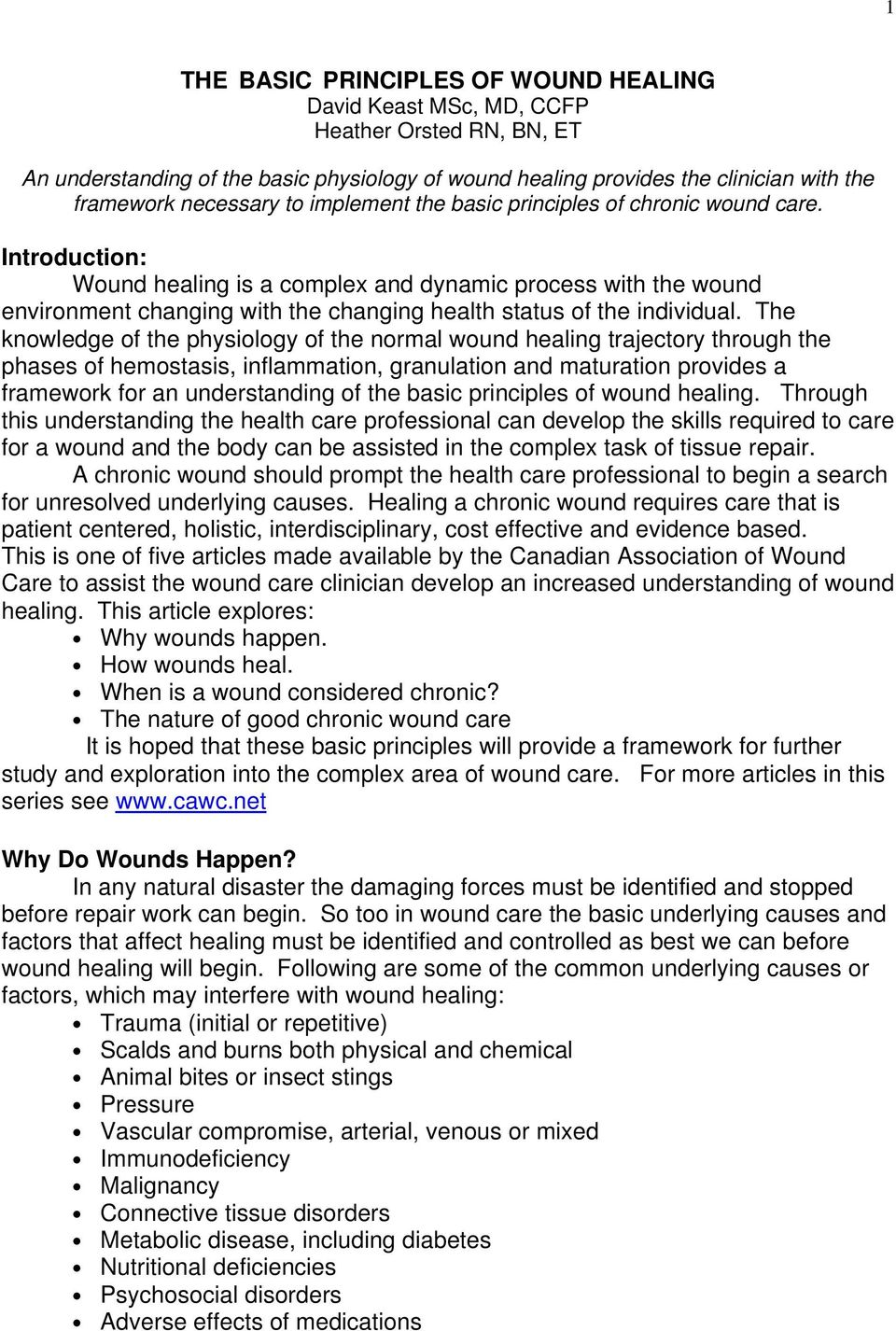 THE BASIC PRINCIPLES OF WOUND HEALING David Keast MSc, MD