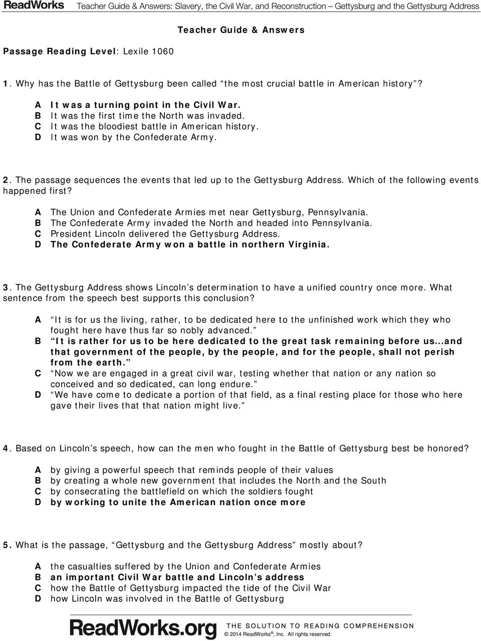 Worksheets Gettysburg Address Worksheet slavery the civil war and reconstruction gettysburg c it was bloodiest battle in american history d won by the