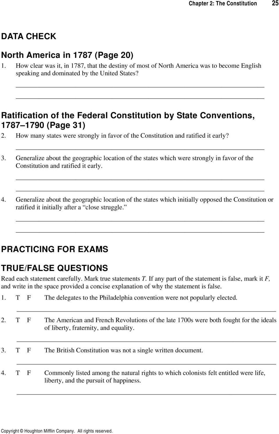 The Constitution Chapter 2 Reviewing The Chapter Chapter Focus Pdf