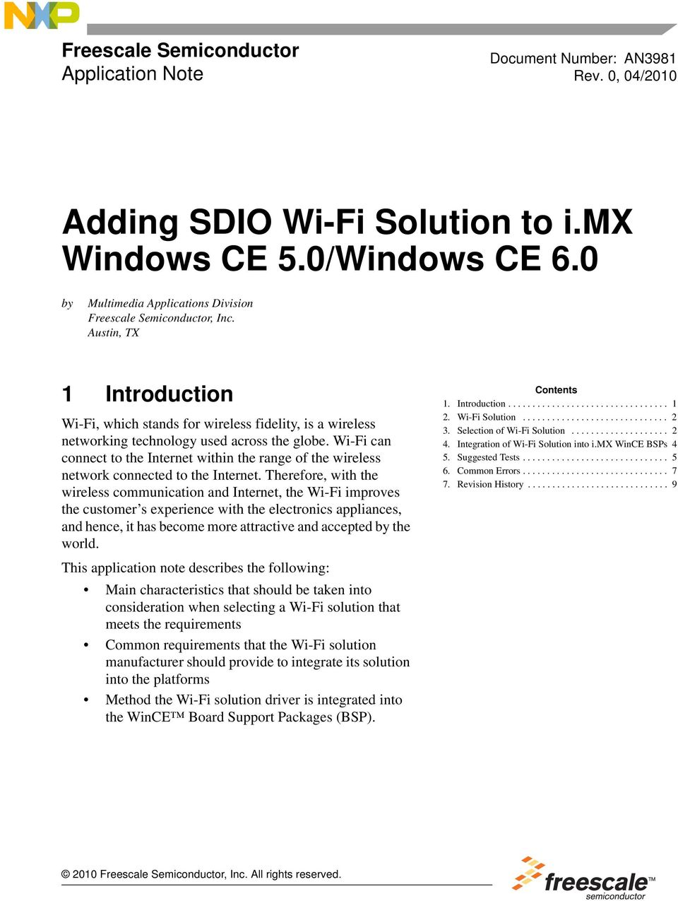Adding SDIO Wi-Fi Solution to i mx Windows CE 5 0/Windows CE PDF