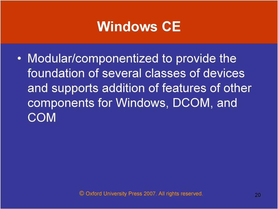 addition of features of other components for Windows,