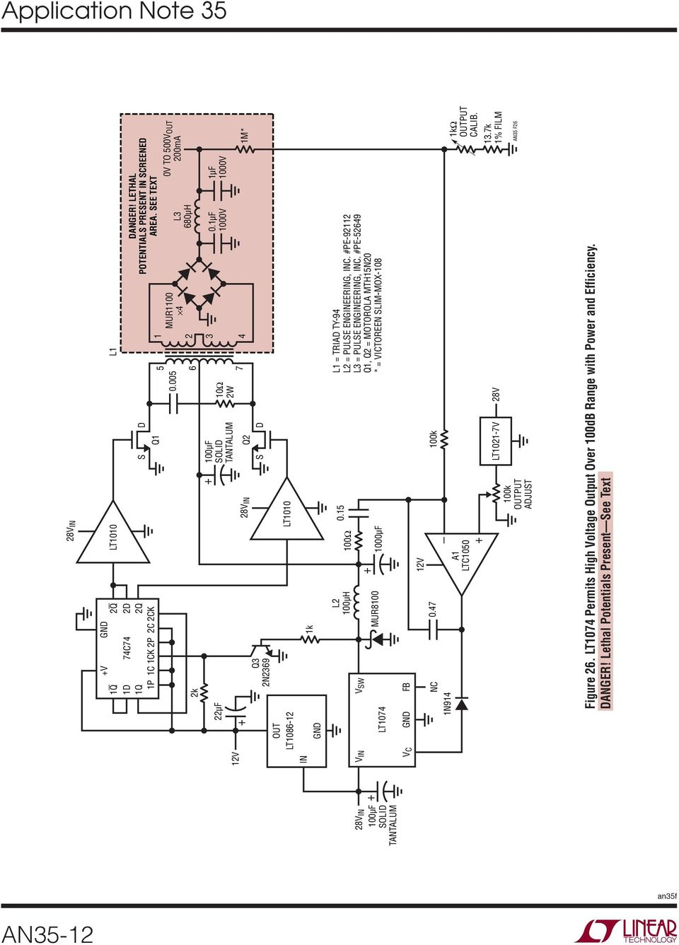 Application Note 35 August Step Down Switching Regulators An35 1 Circuit Schematic Electronics Voltage Regulator With Lt1086 15 1000f L1 Triad Ty 94 L2 Pulse Engineering Inc