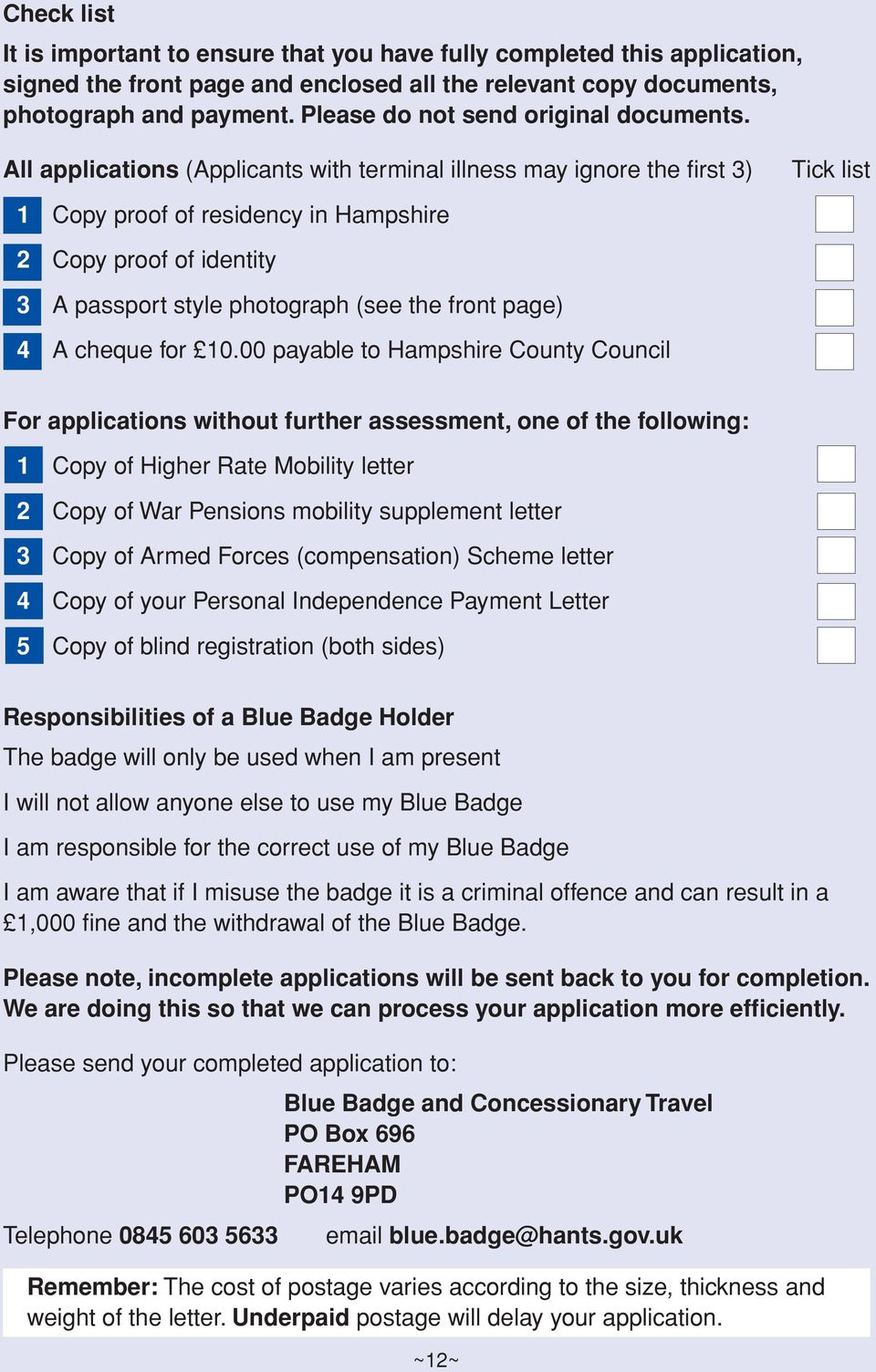 Blue Badge Application Disabled Person S Parking Badge Pdf Free
