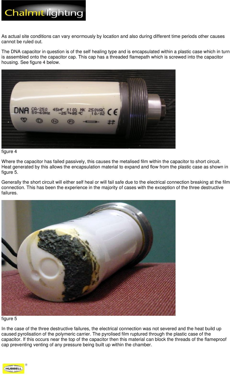 Product Safety Notice Evolution Floodlight Pdf Cmp Products Short Circuit Testing This Cap Has A Threaded Flamepath Which Is Screwed Into The Capacitor Housing See Figure