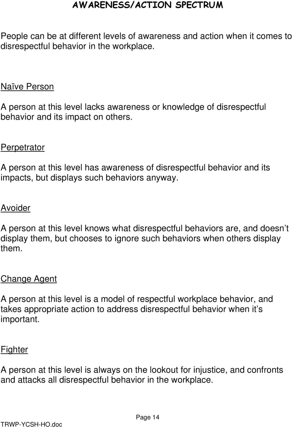 Perpetrator A person at this level has awareness of disrespectful behavior and its impacts, but displays such behaviors anyway.