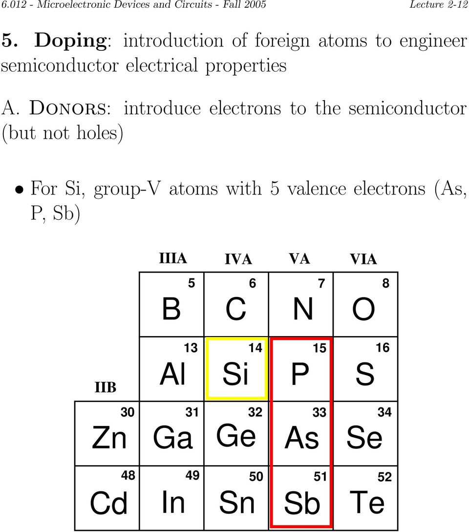 Donors: introduce electrons to the semiconductor (but not holes) For Si, group-v atoms with 5