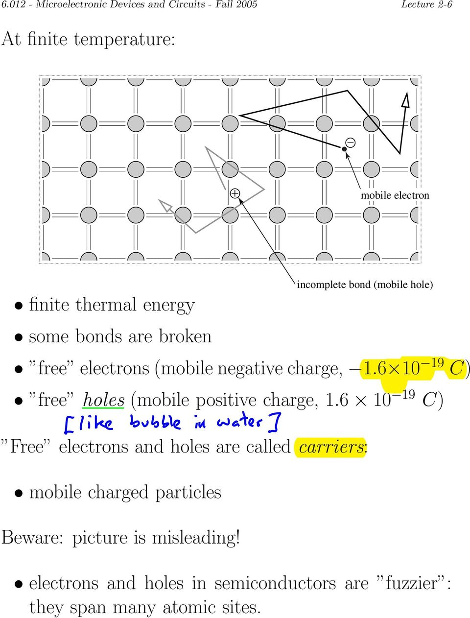 6 1010 19 C) free holes (mobile positive charge, 1.