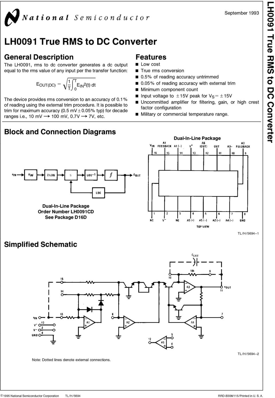 mvx100 mv 0 7Vx7V etc Block and Connection Diagrams Features September 1993 Low cost True rms conversion 0 5% of reading accuracy untrimmed 0 05% of reading accuracy with external trim Minimum