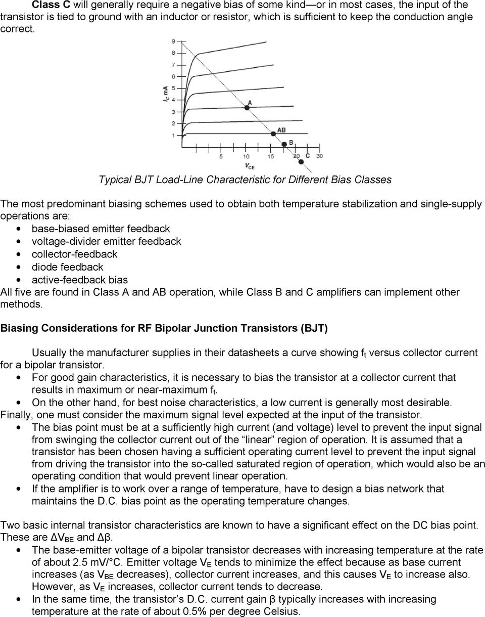 Bias Circuits For Rf Devices Pdf Voltage Divider What Are The Advantages And Disadvantages Of Using Typical Bjt Load Line Characteristic Different Classes Most Predominant Biasing Schemes Used