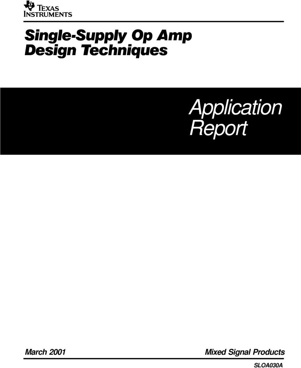 Application Report Sloa030a Pdf Of The Audio Preamplifier Integrated Circuit Lm358 Dual Op Amp 2 Important Notice Texas Instruments And Its Subsidiaries Ti Reserve Right To Make Changes Their Products Or Discontinue Any Product Service