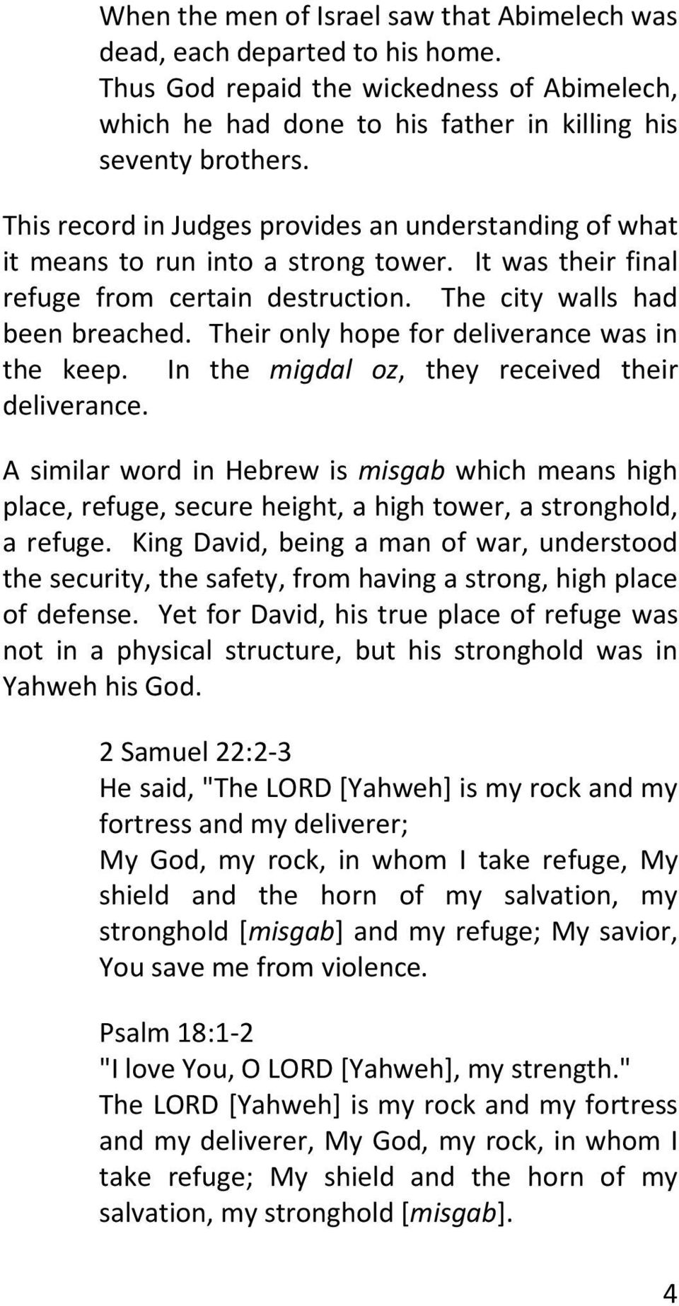 The Name of Yahweh is a Strong Tower - PDF
