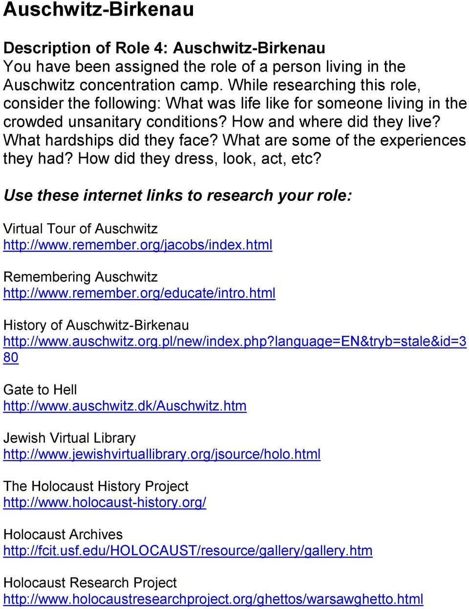 holocaust research project auschwitz