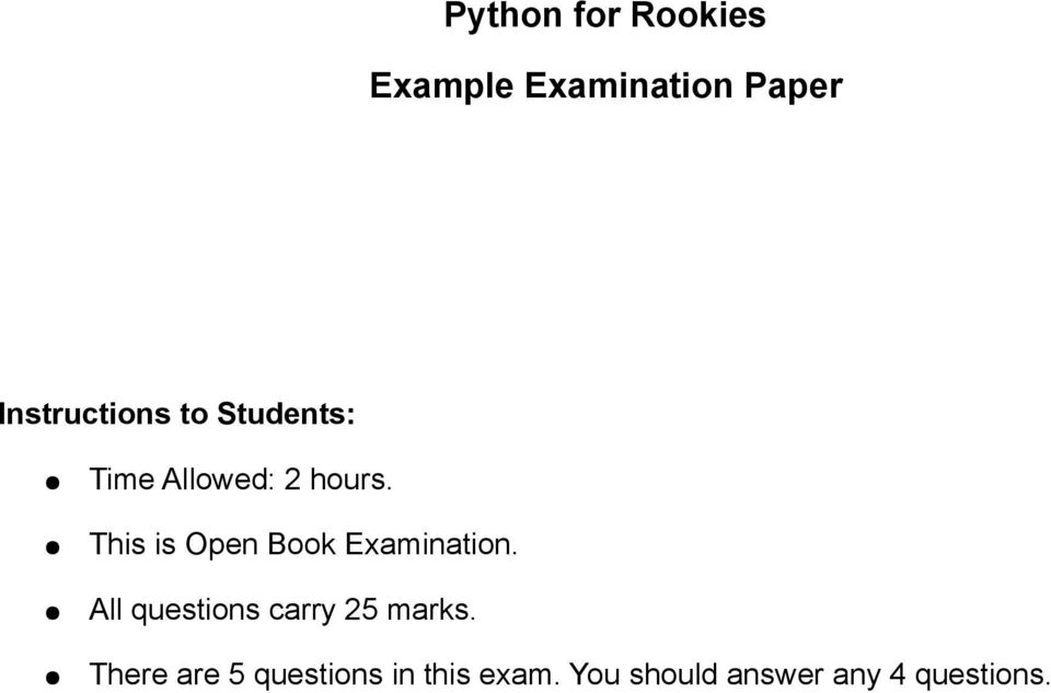 python for rookies example examination paper pdf
