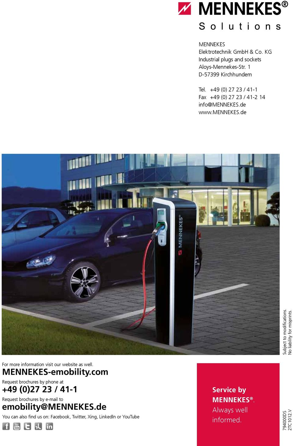 The Solution For Europe Type 2 Charging Socket With Or Without Telephone Wiring On Lju 3a Extension More Information Visit Our Website As Well Mennekes Emobility